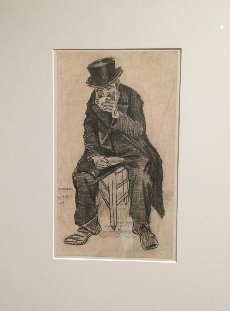 Vincent van Gogh. Old man drinking cofee. La Haya. 1882. Dibuix a carbonet i litografia