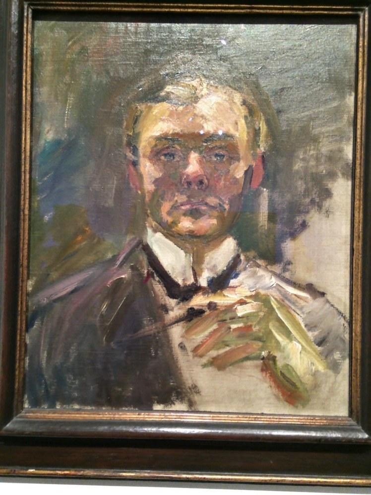 Max Beckmann. Autoretrat amb mà alçada. 1950. Museu Thyssen-Bornemisza