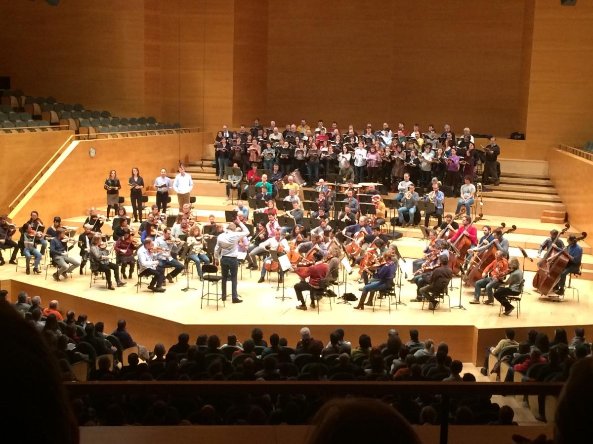 Assaig de la OBC de la Novena de Beethoven a l'Auditori. Gener 2016