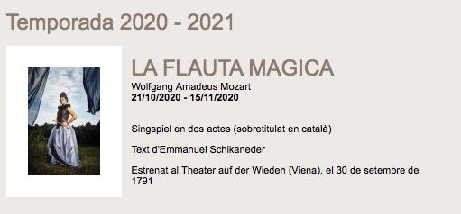 La flauta màgica de Mozart. Amics de l'Òpera deSabadell.