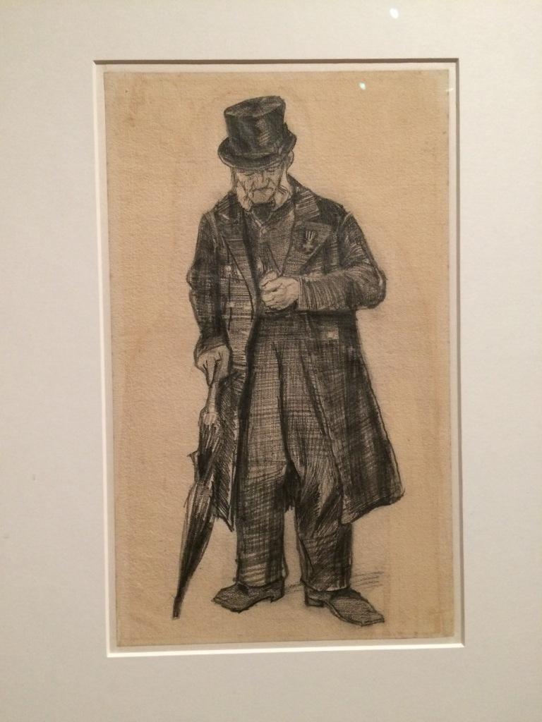 Vincent van Gogh. Old man with umbrella and watch. La Haya. 1882. Carbonet