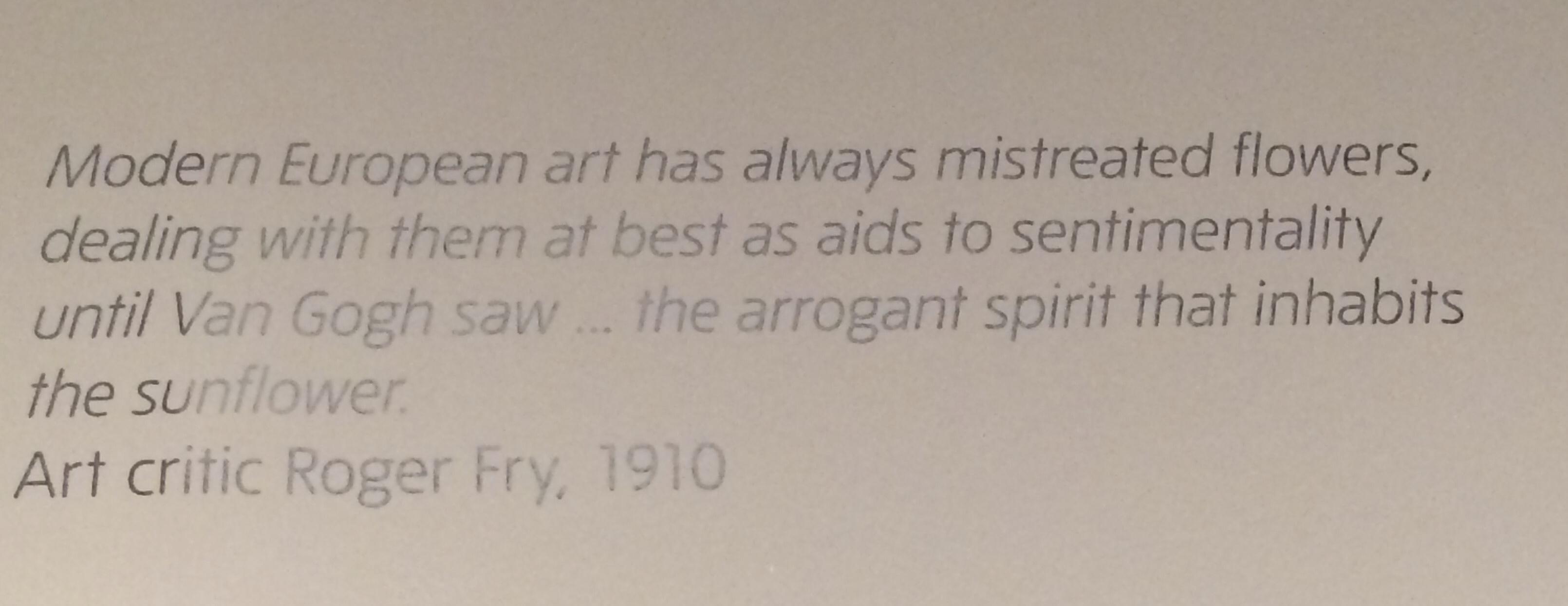 Cita de Roger Fry, entorn a les flors a la pintura