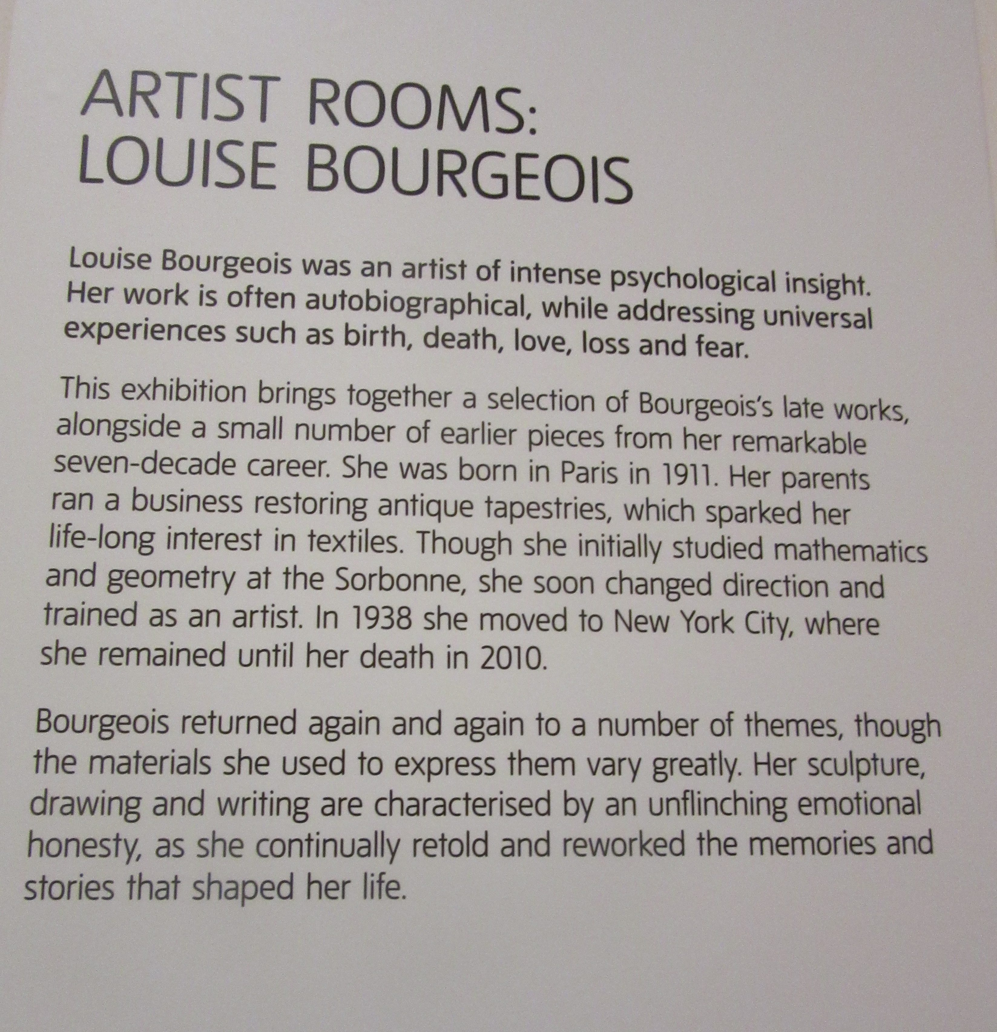 Tate modern. Artist Rooms. Louise Bourgeois