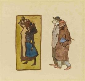 El pintor Casagemas i Picasso empaitant dues noies (Dues noies). Museu Picasso Barcelona