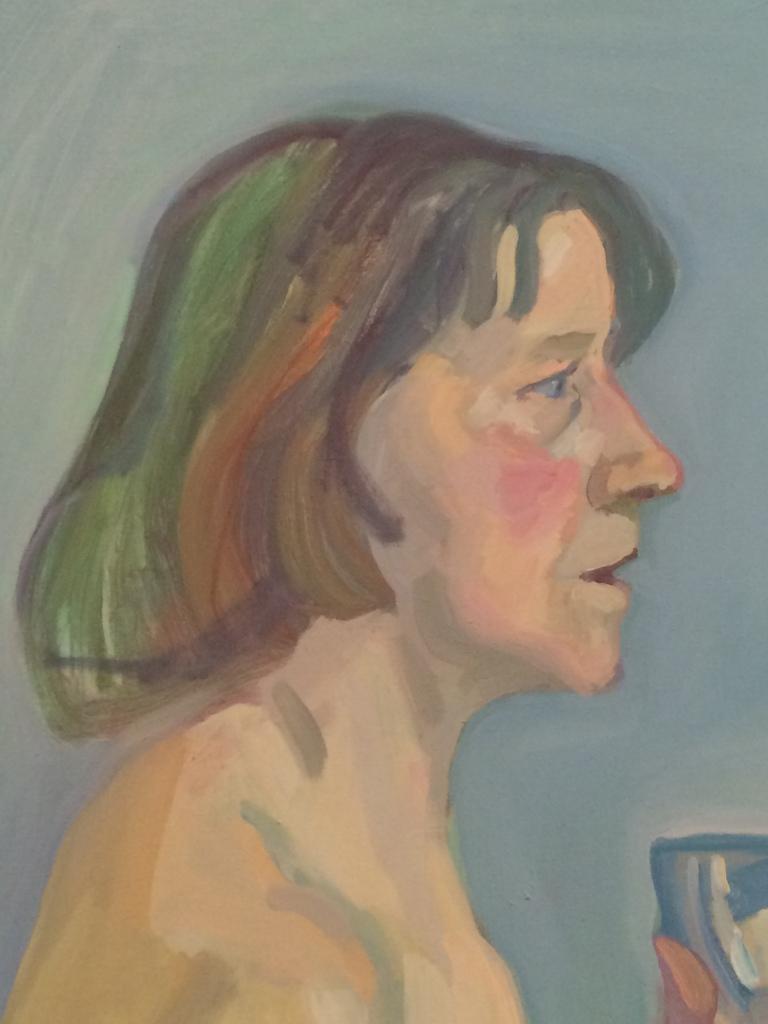 Maria Lassing. Autoretrat amb got de vi.1975